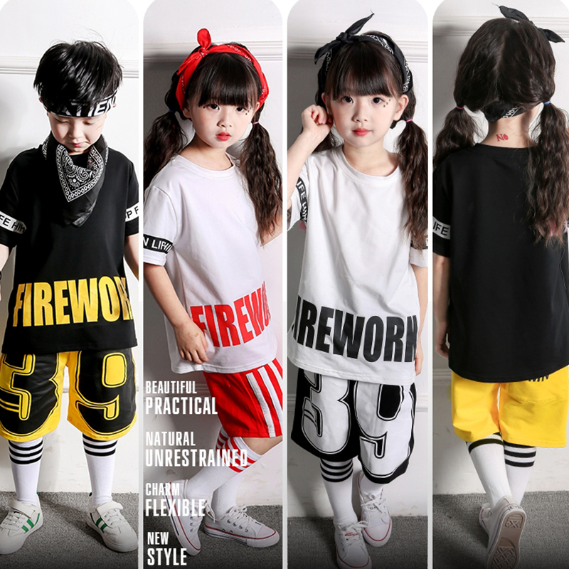 Popular Stage Costume For Boys Girls Street Dance Performance Clothing Children Hip Hop Set Kids Jazz Dancing Clothes DC1011