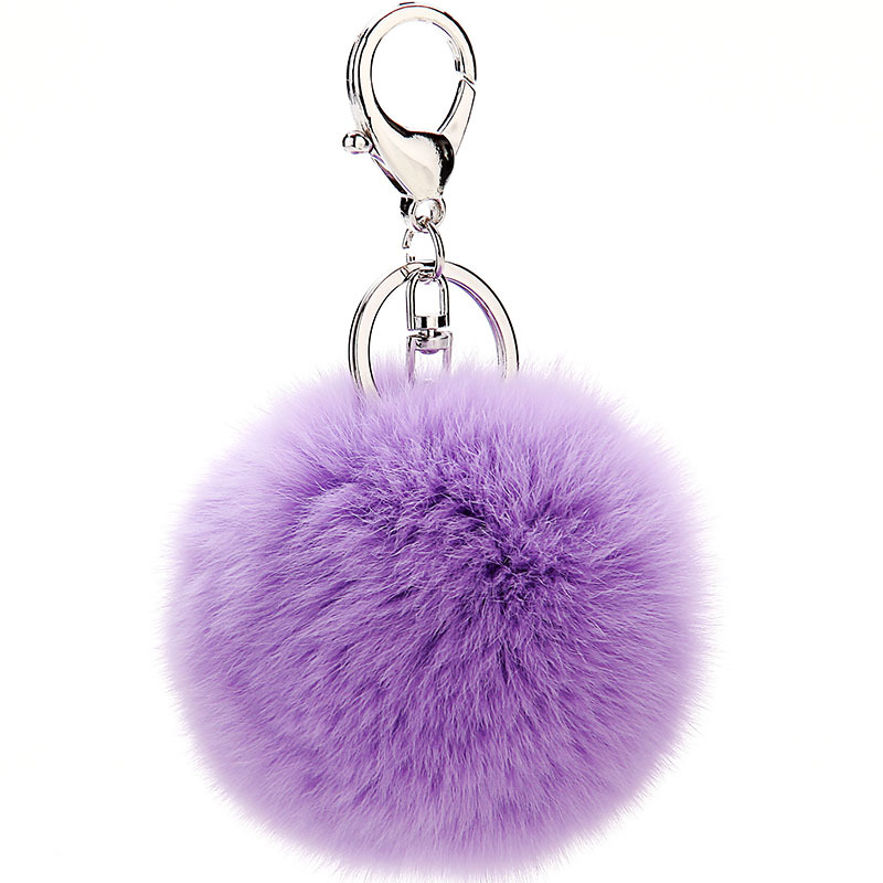 Furling Silver Plated <font><b>Key</b></font> Chain with 8cm Sof Genuine Rex Rabbit Fur Fluffy <font><b>Pom</b></font> <font><b>Pom</b></font> Ball <font><b>Key</b></font> <font><b>Ring</b></font> Handbag Charm Gifts Accessories image