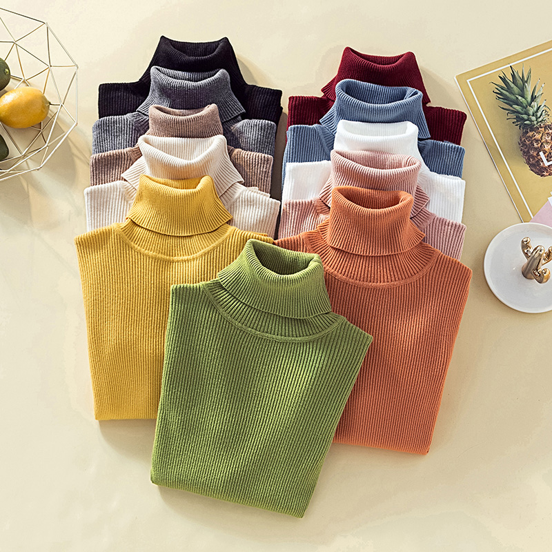 Pullover Turtleneck Sweater Women Solid Basic Slim Casual Tops Knitwear Autumn Winter Clothes Women Jumper Sweaters Pull Femme