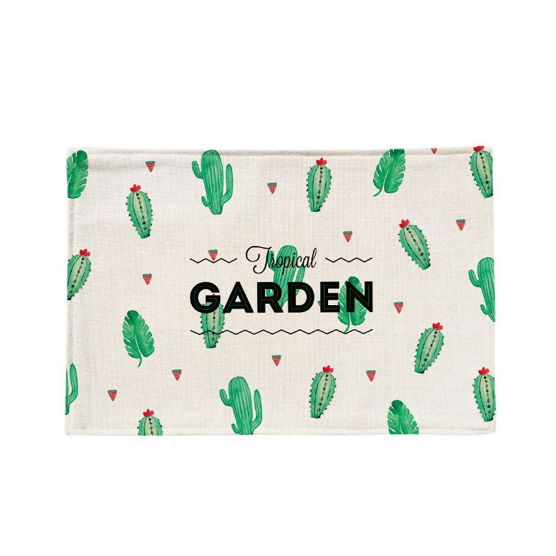 New Green Cactus Pattern Dining Table Mat Insulation Anti-Slip Placemats Bangles Bowl Table Mats Coatings Kitchen Accessories woven vinyl non slip insulation placemat washable table mats