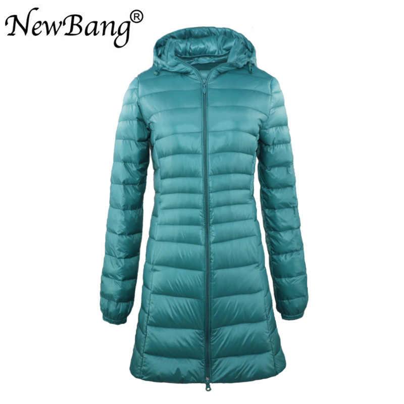 Новый бренд 7XL 6XL женское длинное теплое пуховое пальто Женская ультра легкая пуховая куртка с сумкой женские пальто по бедрам