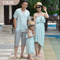2016 New Family fitted Paternity Vacation Holiday beach dress skirt mother daughter Girl dress and Father son shirt pants suits