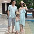 2016 Nueva Familia equipada de Paternidad de Vacaciones de vacaciones playa vestido de falda vestido de La Muchacha y Padre madre hija hijo camisa pantalones trajes