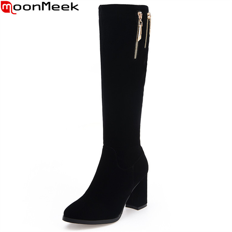 MoonMeek black flock women boots zipper square heels round toe knee high boots simple comfortable lady boots big size 34-42 цена и фото