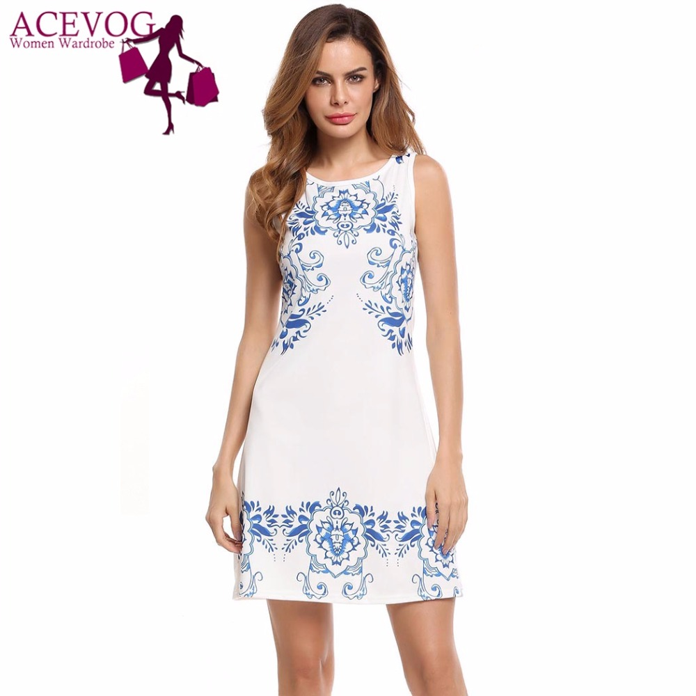 6ef61a5ee000 Online Shop ACEVOG Women Print Dress Summer Casual Sleeveless Floral Print  Scoop Neck Empire Lady Straight Dresses Brand Feminino Vestidos