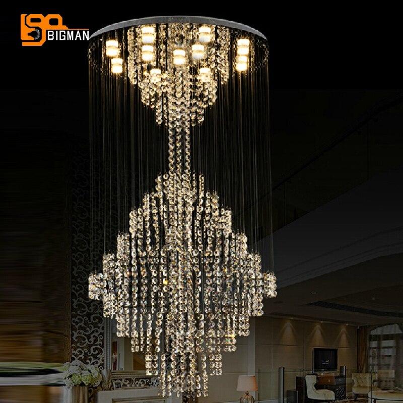 nouveau design grand lustre en cristal luminaires dia80 h200cm lustre suspendu cage d 39 escalier. Black Bedroom Furniture Sets. Home Design Ideas