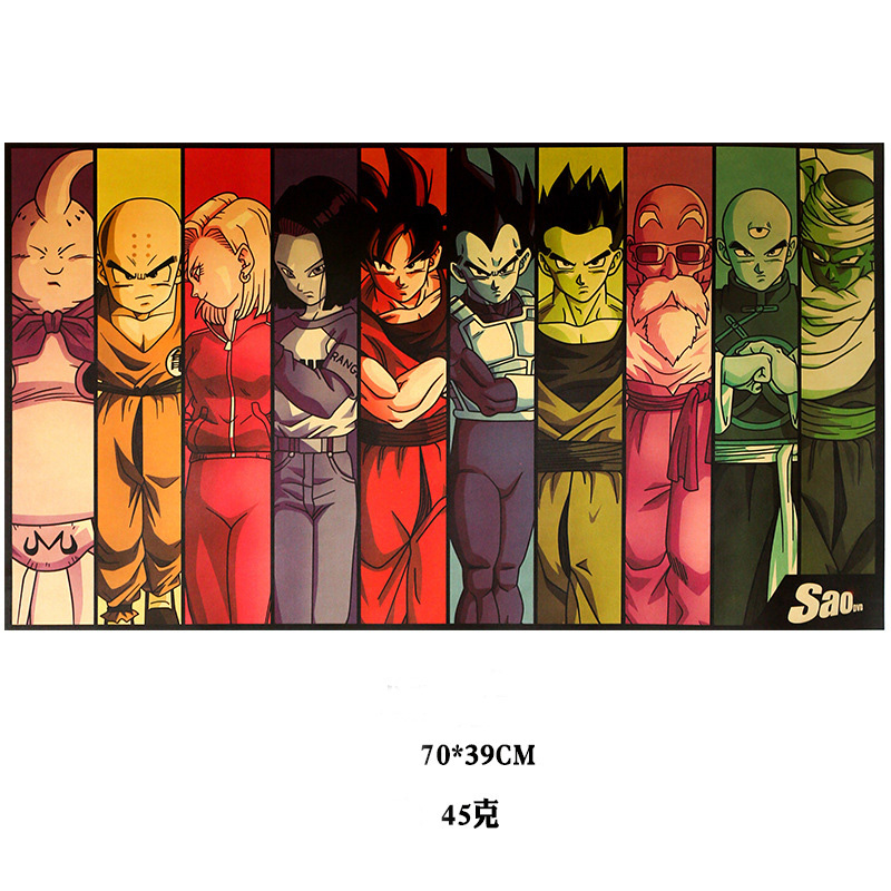 Japan Anime Dragon Ballz Action Figure Poster Goku Vintage Retro Kraft Print Sticker Bar Posters Decor Dragon Ball Toys