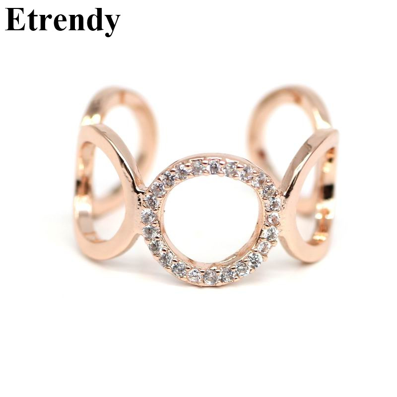 Rhinestone Round Circle Justerbare Ringer For Women Rose Gold Color Mote Smykker Ring Cute Gift Bijoux Tilbehør