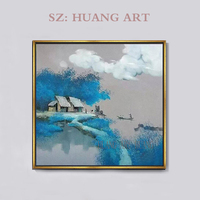 Original of purple streams and boat scenery oil painting artist Vietnam huts modern style decorating children room porch rural n