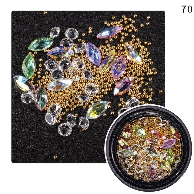 1 jar Mixed Styles Colorful AB Shiny Nail Art Rhinestones Metal Gems ...