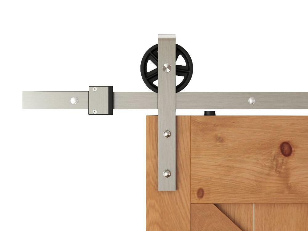 DIYHD 5FT-10FT Brushed Nickel Industrial Spoke Wheel Steel Sliding Barn Door Hardware