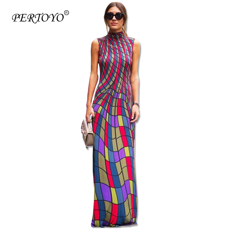 Shop For Cheap Pertoyo 2017 New Arrival Famous Brand Sleeveless Boho Beach Long Dress Sexy Plaid Print Dresses Novelty Bandage Maxi Dress T0118 With Traditional Methods Women's Clothing