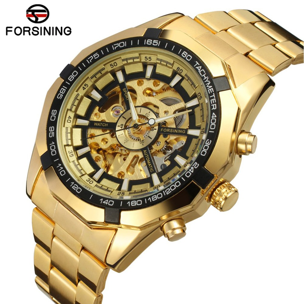 7bb96f09ed51 Reloj FORSINING para hombre reloj de pulsera de esqueleto Masculino reloj  automático bobinador para hombre relojes de marca superior reloj de oro  mecánico ...
