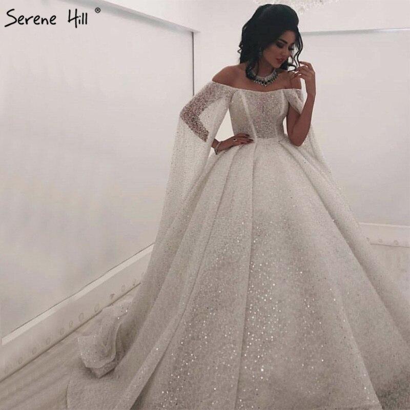 White Off Shoulder Luxury Dubai Wedding Dresses Design 2020