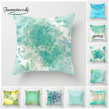 Fuwatacchi Chinese Ink Painting Cushion Cover Blue Ocean Flower Printed Pillow For Home Sofa  Decorative Pillowcase