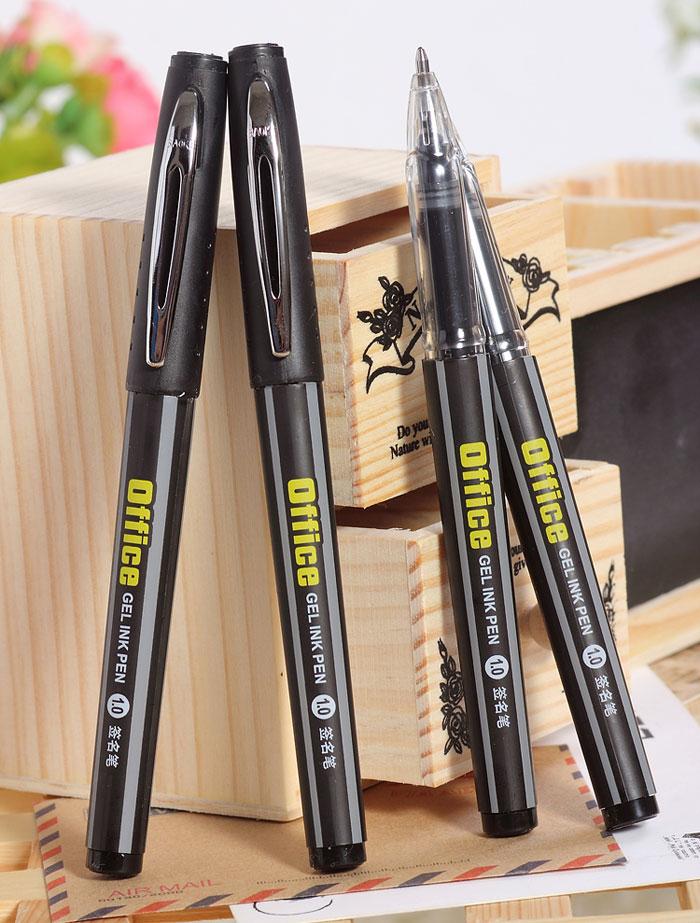 2pcs Black Signature Pen European Standard Office Gel Ink Pen