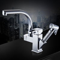 Heart Full Copper Pulling Type Kitchen Pull Tap Washbasin Tap Nozzle Telescopic Stretch