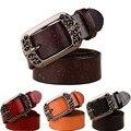 2016 Genuino Cinturones de Cuero Piel de Vaca Para Las Mujeres Diseño Tallado Retro Metal Mujeres Cintos Ceinture Correa Femenina Cinturones de Alta Calidad