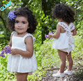 2016 New Baby Girls Summer Sunsuit Floral Lace Backless Dress Briefs Outfits 2Pcs Set AU Tracksuit For Baby Kids Girls Clothes