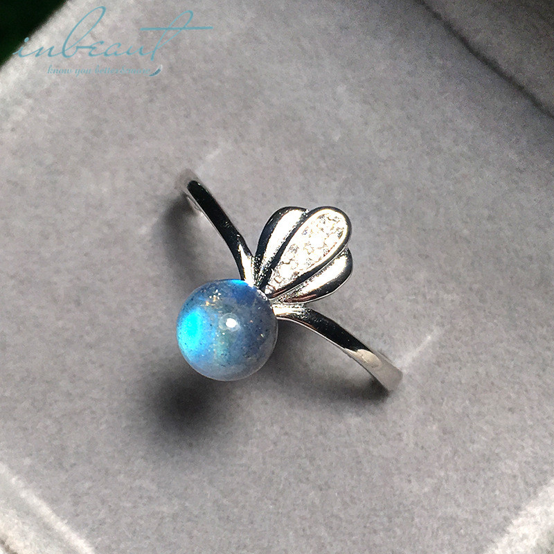 inbeaut 925 Silver Blue Gemstone Honeybee Ring Female Cute Insect Real Round Labradoorite Wedding Ring Women Precious Jewelry(China)