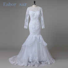 Plus Size Lace Mermaid Wedding Dresses 2017 Modest Sheer Neckline Illusion 3/4 Long Applique Bridal Gowns Custom