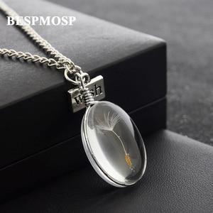 Bespmosp 24 шт./лот оптовая продажа, бисер из одуванчика в стеклянном шарике, ожерелье с настоящими цветами и цепочкой, женское винтажное Ювелирн...
