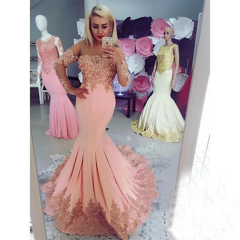 Peach Mermaid Long Sleeve Bead Lace Prom Dresses 2019 Evening Gowns Women Party Carpet Dress Celebrity