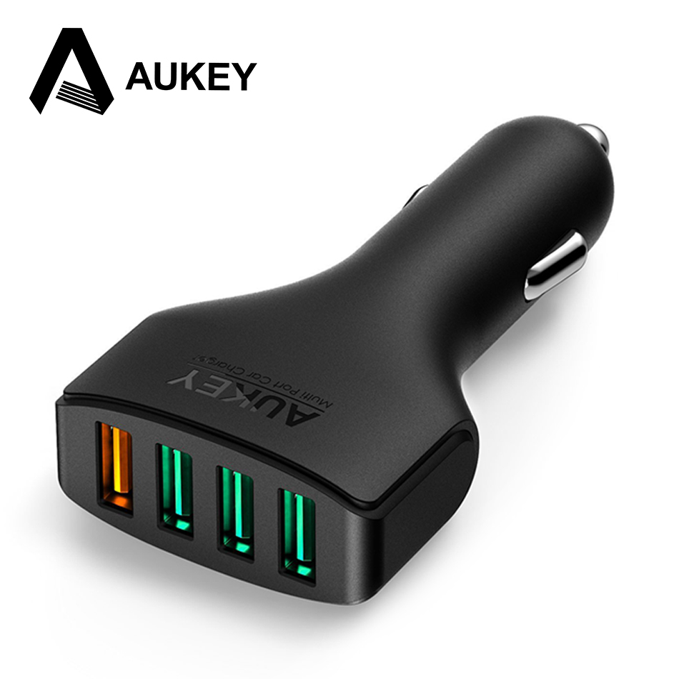 AUKEY 54W Car Charger USB Quick Charge 3.0 Car-Charger Mobile Phone Charger Car Fast Charger For Samsung Galaxy S8 iPhone Xiaomi