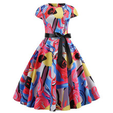 Red Party Dress Women Elegant Short Sleeve Floral Print Vintage Dresses Robe Femme 2019 Summer New Midi Bodycon Dress Plus Size pink mulberry silk dress high quality women plus size large midi embroidery floral robe dresses summer elegant vintage clothing