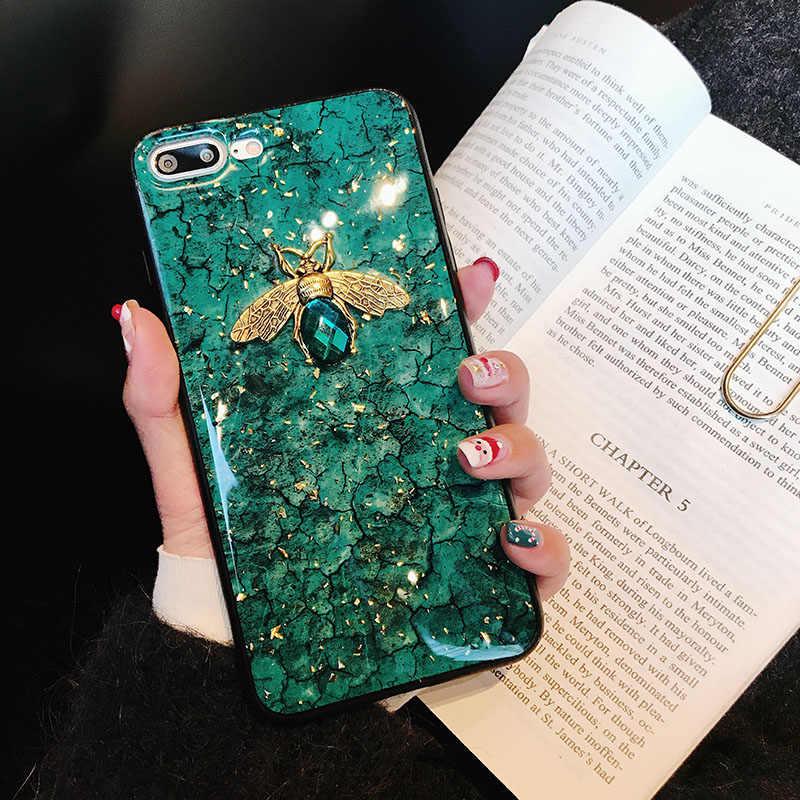 Mạ Vàng Long Lanh Viền Đá Cẩm Thạch 3D Ong Mềm Dành Cho Huawei P30 Pro Giao Phối 10 20 P20 Lite P10 Danh Dự 20 10i 9X 8X Y5 Y6 Y7 P Thông Minh 2019