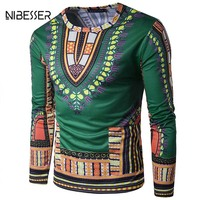 NIBESSER Ethnic Style 3D Printed False 2pc T Shirts Men Long Sleeve O Neck Tee Shirt
