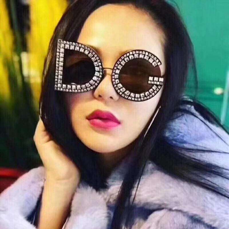 New Retro Luxury Rimless Sunglasses Women Brand Designer Oversized Sun Glasses Female Diamond Cutting Eyeglasses For Lady W4 Rich And Magnificent Women's Glasses Women's Sunglasses