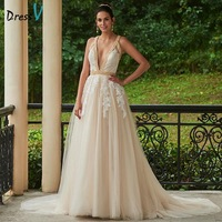 Dressv Sexy Deep V Neck Backless Wedding Dress A Line Appliques Beading Court Train Bridal Dress