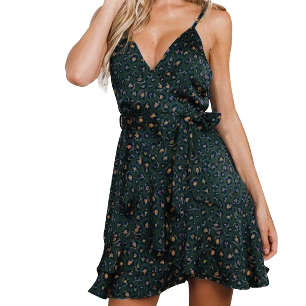 Humble New Fashion Summer Womens Dresses Sexy Leopard Print Sling Dress Holiday Mini Dress Party Night Elegant Sundress Z0412 2019 Latest Style Online Sale 50% Women's Clothing