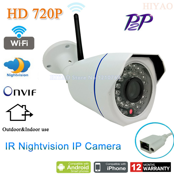 1280*720P 1.0MP Mini Bullet Wifi IP Camera ONVIF 2.0 Waterproof Outdoor IR CUT Night Vision P2P Plug and Play, free shipping wifi ipc 720p 1280 720p household camera onvif with allbrand camera free shipping