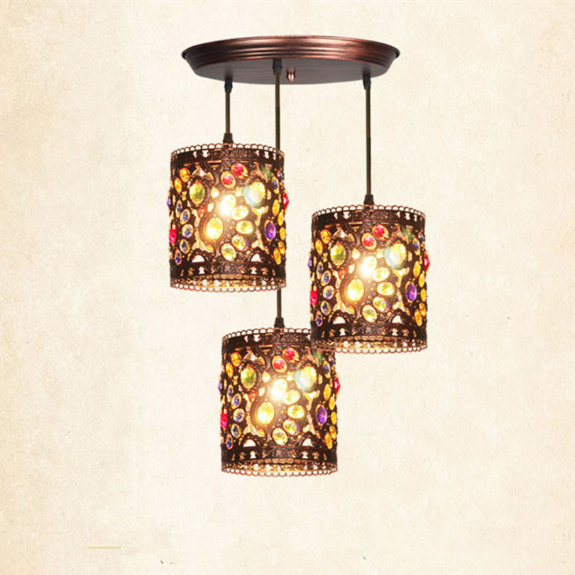 Bohemis Retro Bronze Metal Led Pendant Chandeliers Lustre Crystal Dining Room Led Chandelier Lighting Led Hanging Lights Fixture modern led crystal chandelier lights living room bedroom lamps cristal lustre chandeliers lighting pendant hanging wpl222