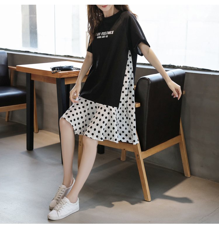 XL-5XL Plus Size Women Casual Dress Summer 2019 Short Sleeve Cotton Patchwork Chiffon Loose Casual Polka Dot Dresses 5