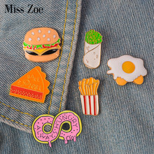 Fast food emaille pin Burrito Omelet Donut hamburger badge broche Revers pin Denim Jeans overhemd zak Cartoon Sieraden Gift voor kids(China)