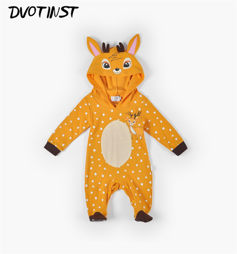 Dvotinst Baby Boys Girls Winter Animals Fannel Deer Rompers Cosplay Halloween Clothes Outfits Infantil Toddler Jumpsuit Costume 2017 baby boys girls long sleeve winter rompers thicken warm baby winter clothes roupa infantil boys girls outfits cc456 cgr1