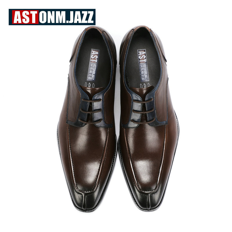 Derbies Cuir Véritable Pour Casual Chaussures De Dentelle Taille D'affaires Up 45 Hommes Formelle En Oxford Black coffee Grande CrBxode