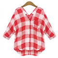 Vetement Femme Plaid Shirt Women Tops and Blouses 2016 New Fashion Woman Clothes Linen blouse plus size blusas y camisas mujer