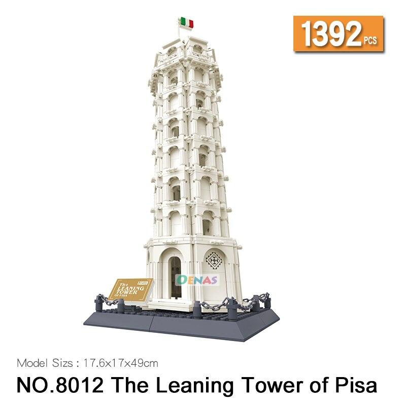 L'architecture Italie Torre Pendente Tour Penchée de Pise blocs de construction briques de construction enfants jouet fit legoing enfants cadeau