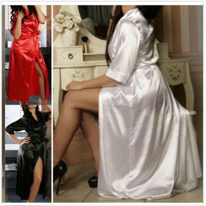 2019 Cover Up Beach Woman 2019 Sexy Long SILK Dressing Gown Bath Robe Babydoll Lingerie Nightdress Dressing Gown Beachwear