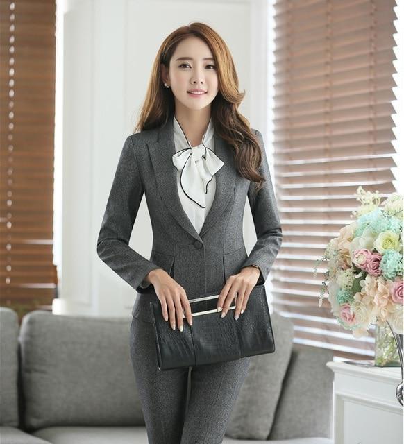 c2b1d822abec € 27.14 5% de DESCUENTO|Formal femenino gris Blazers mujeres abrigos  Chaquetas elegante señoras Oficina uniforme estilo ropa de trabajo ropa en  ...
