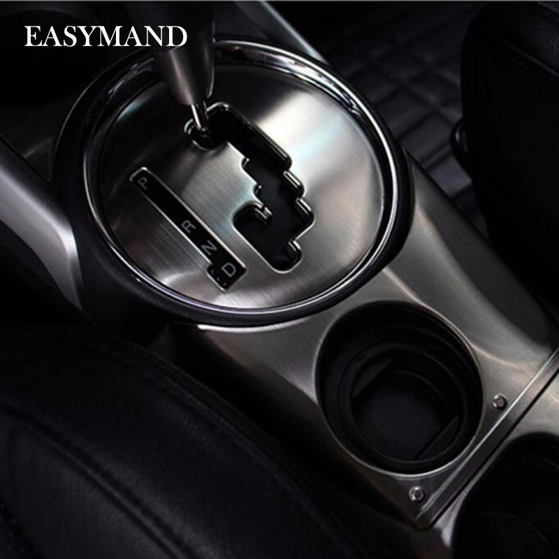 Stainless Steel Car Inner Gear Panel Water Cup Holder Decorative Trim Car Styling Case For Mitsubishi ASX Auto Accessories high quality stainless steel wire drawing water glass holder panel 1pcs for lexus 2016 rx200 rx450h accessories