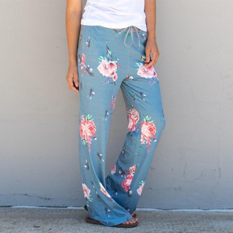 CALOFE Light Blue Women Wide Legs Sport Pants Floral Printed Yoga Pants Drawstring Loose Athleisure Sportswear Pilates Trousers