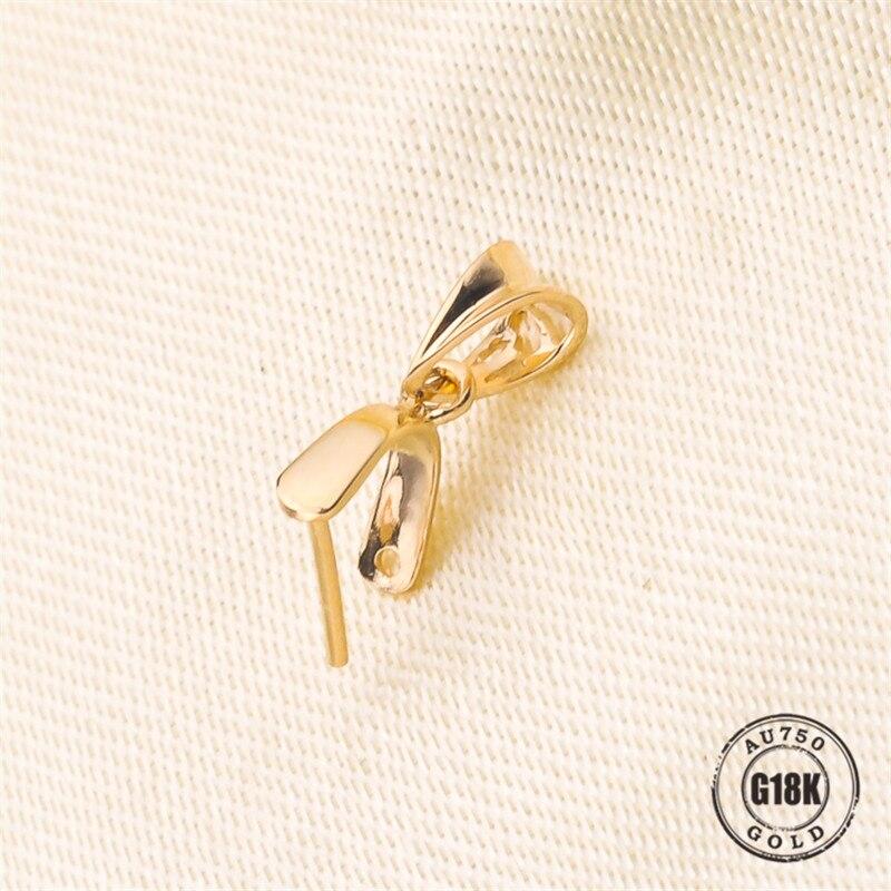 Vente chaude solide 18 k or jaune pendentif Clip fermoir pince pince Bail pendentif connecteurs Bail perles résultats de bijoux bijoux à bricoler soi-même Acc