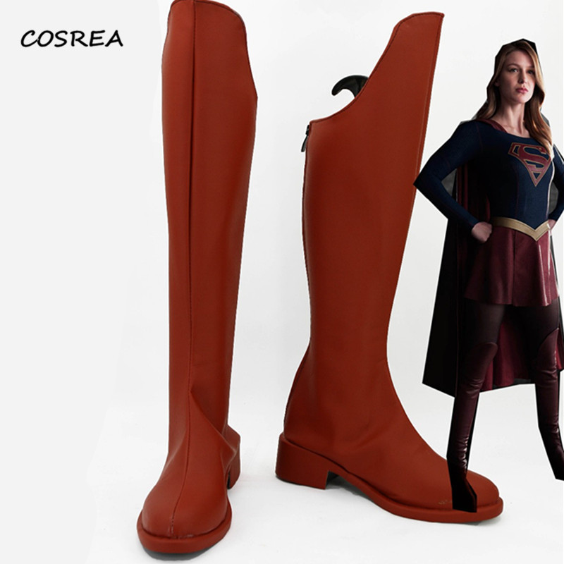 Supergirl Kara Zor-El Boots Cosplay Costumes Superhero Adult Red Halloween Carnival Party Props Accessories Shoes Custom Made