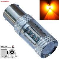 2pcs Error Free For Cars Amber Orange 80W LED BAU15S 7507 PY21W LED Bulbs For Front