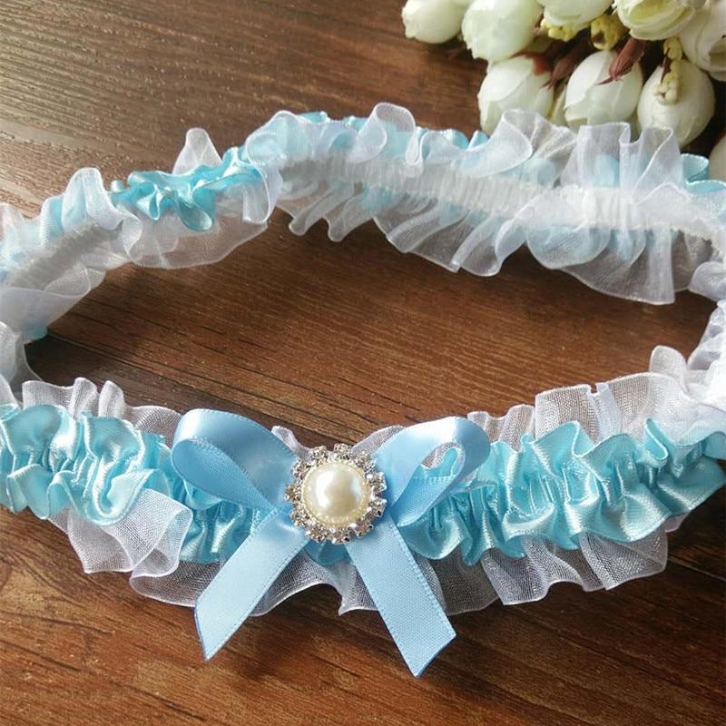 Wedding Vintage Garter Blue Ribbon Bow With Pearls Bridal